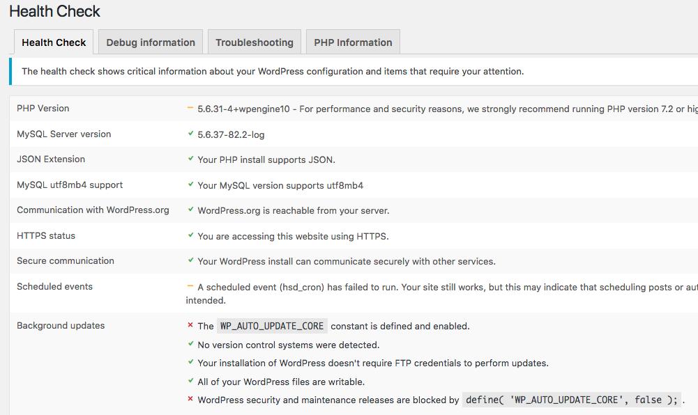 WordPress technical details