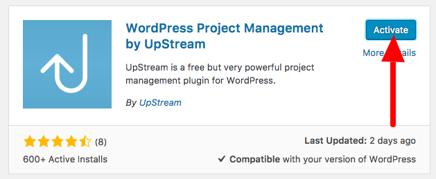 Activate the UpStream plugin