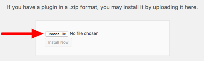 Choose a file to upload to WordPress