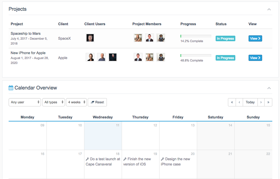 Calendar View for Projects in WordPress on main project overview
