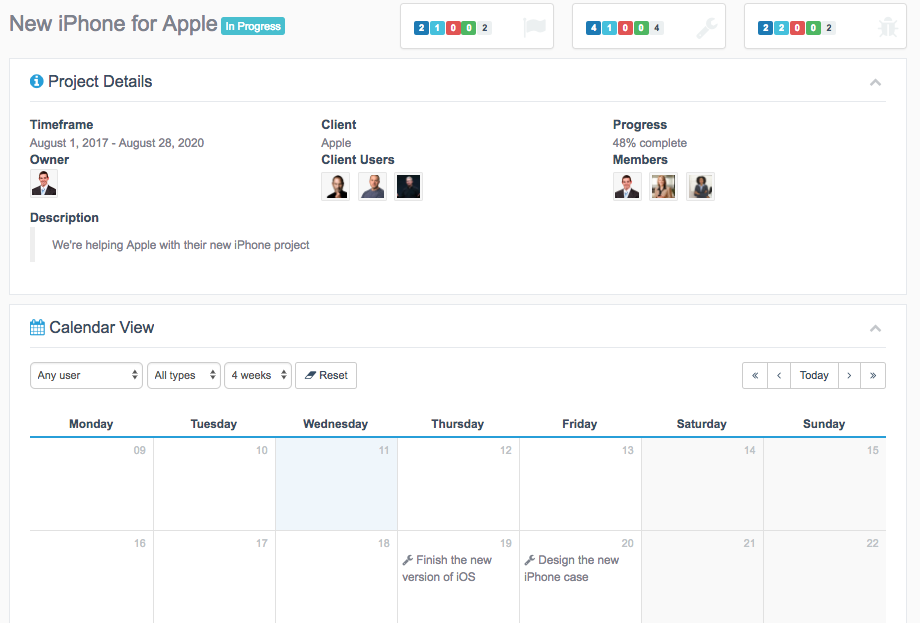 Calendar View for Projects in WordPress on project pages
