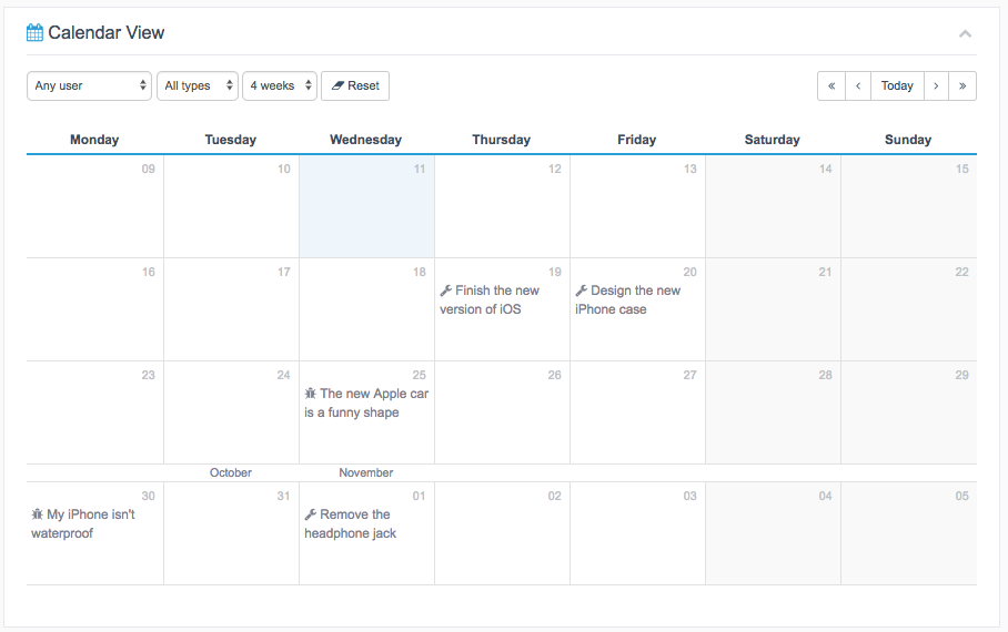 Calendar View for Projects in WordPress