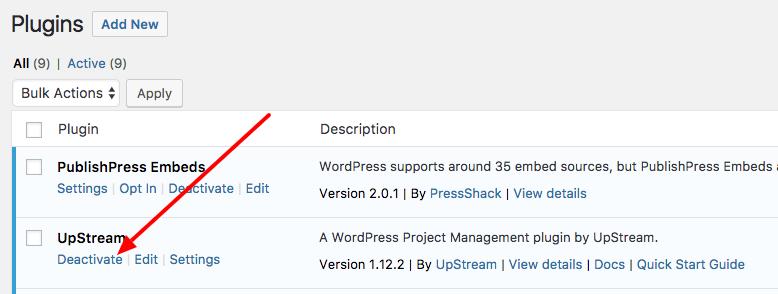 Deactivating the UpStream plugin