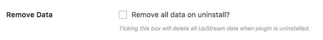 Remove all UpStream data on install