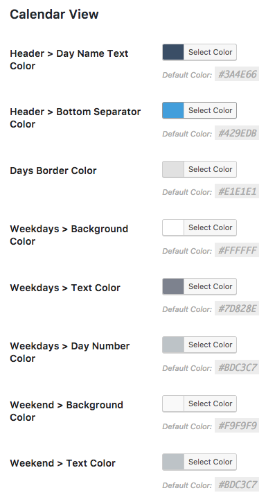 select the colors used in the Calendar View