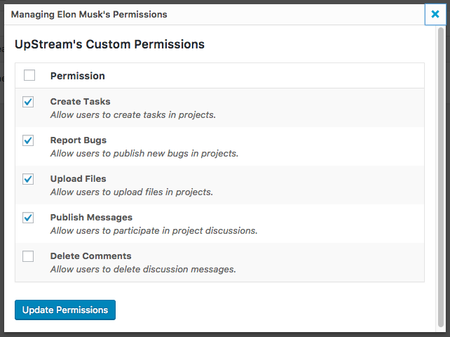 different permissions for UpStream user