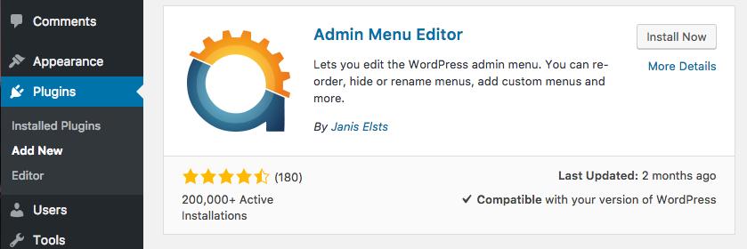 Admin Menu Editor plugin WordPress