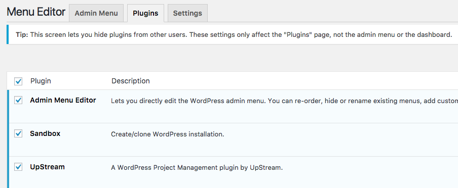 WordPress Admin Menu Editor options