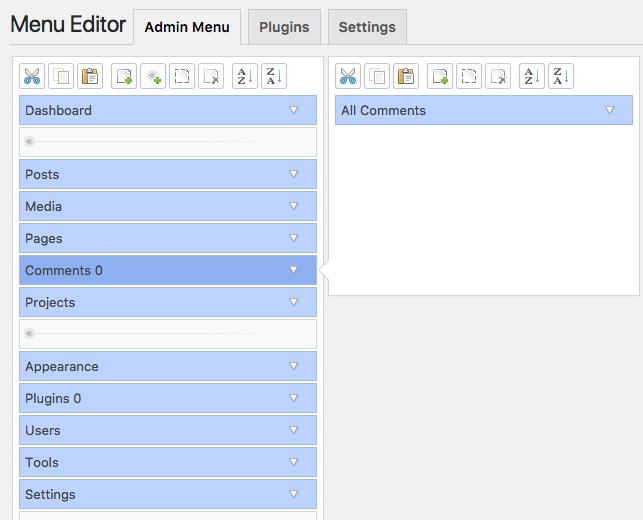 WordPress Admin Menu Editor settings