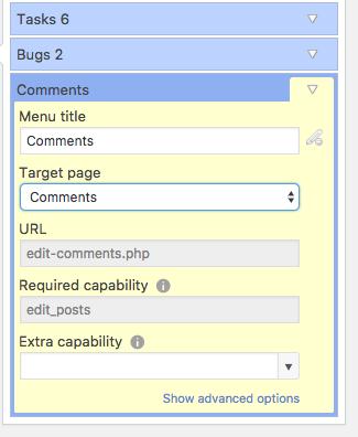 Creating a new WordPress Admin menu link