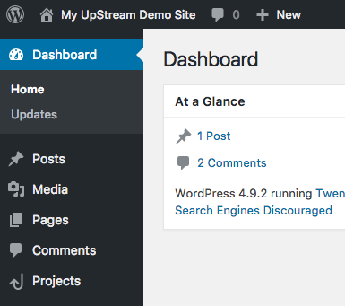 WordPress Admin menu with UpStream plugin
