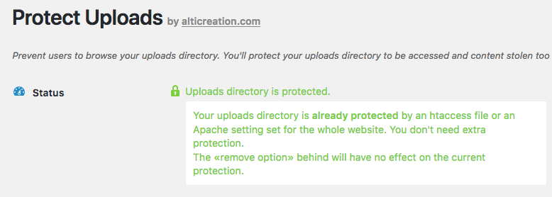 Your WordPress uploads are protected