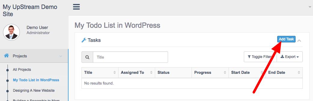 Add tasks to a WordPress to-do list
