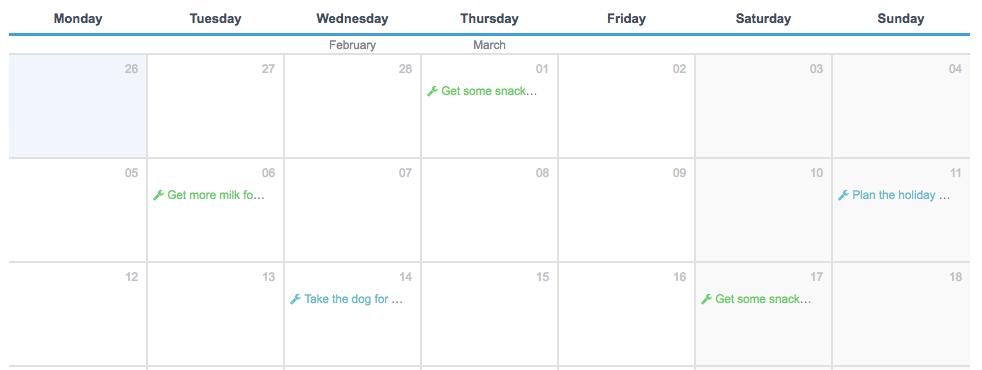 Calendar View for a WordPress to-do list