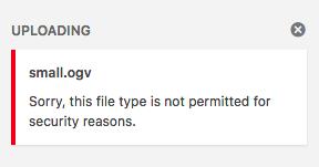 OGV file upload in WordPress