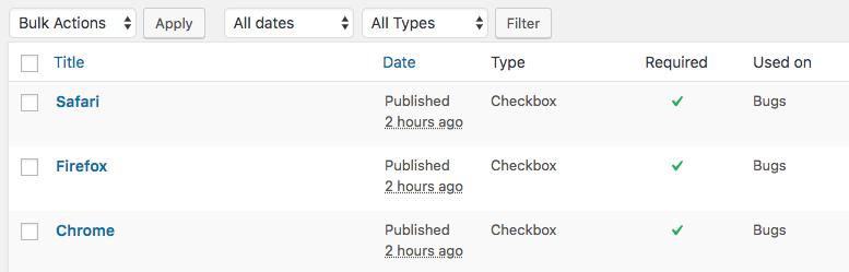 New sub-task fields