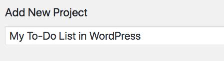 My to-do list in WordPress