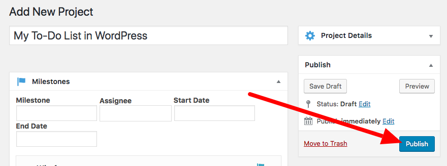 Publish a new to-do list in WordPress