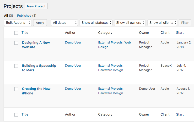 Projects in an UpStream WordPress site