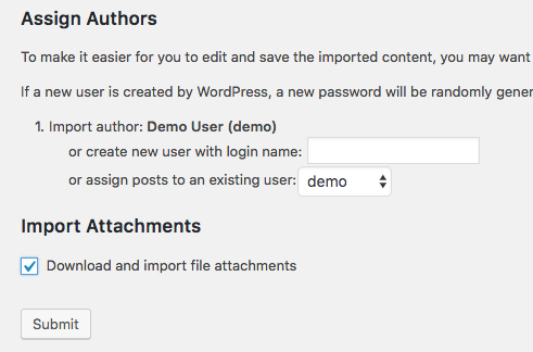 Final step in import process to WordPress