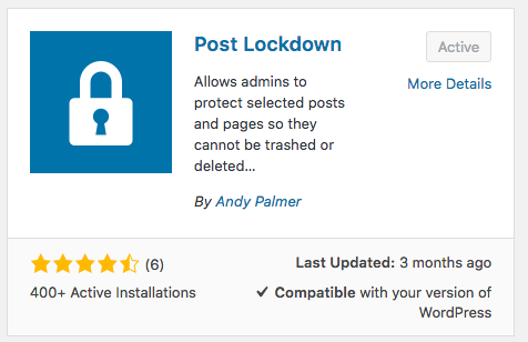 WordPress Post Lockdown project