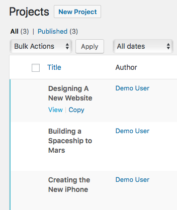 UpStream projects waiting for copying in WordPress