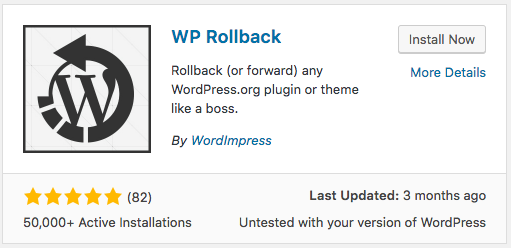 WP Rollback plugin