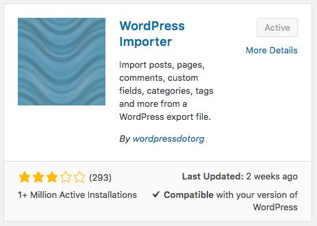 WordPress importer plugin installation