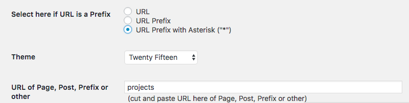 settings for the Multiple themes plugin for WordPress