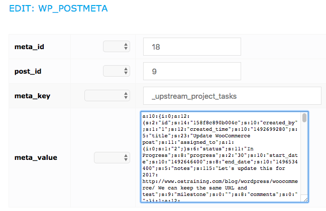 Tasks attached to project in the UpStream database