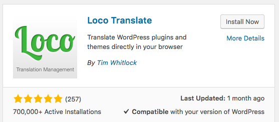 The Loco Translate plugin in WordPress