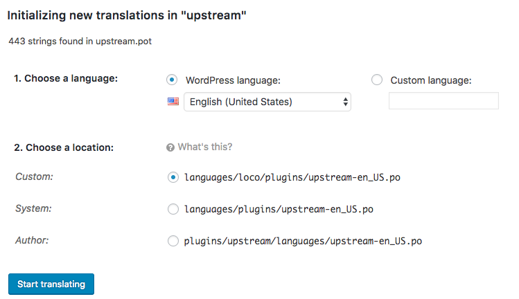 New translations in the Loco Translate plugin