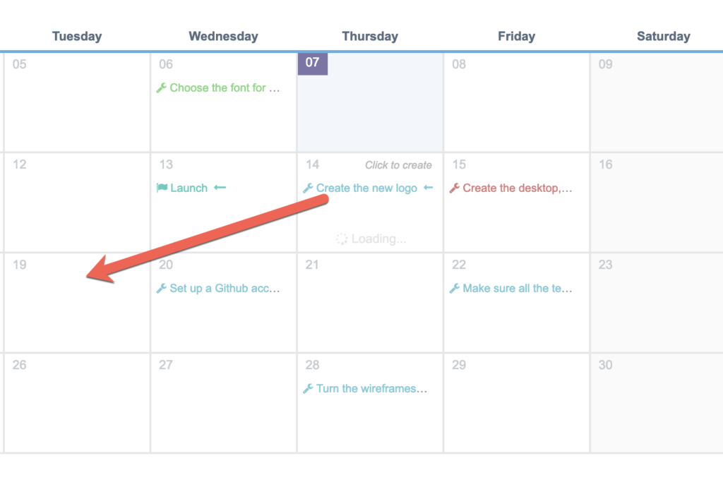 Drag-and-drop items in the UpStream calendar