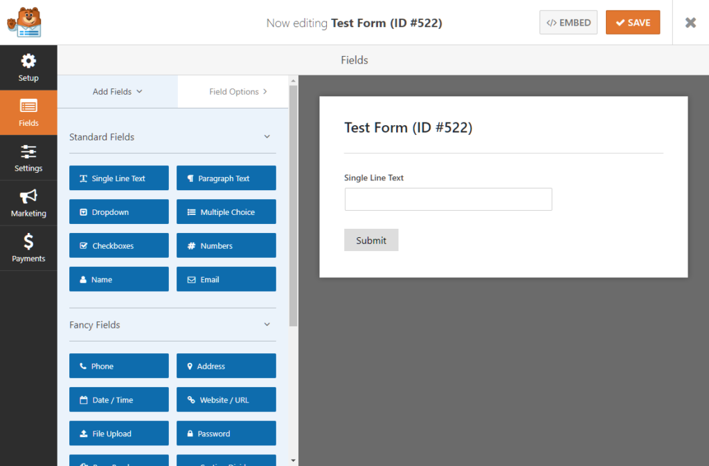Adding fields to a form in WPForms