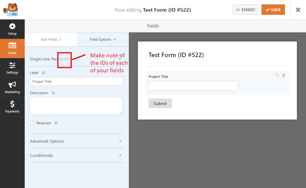 Finding the ID of a form field in WPForms
