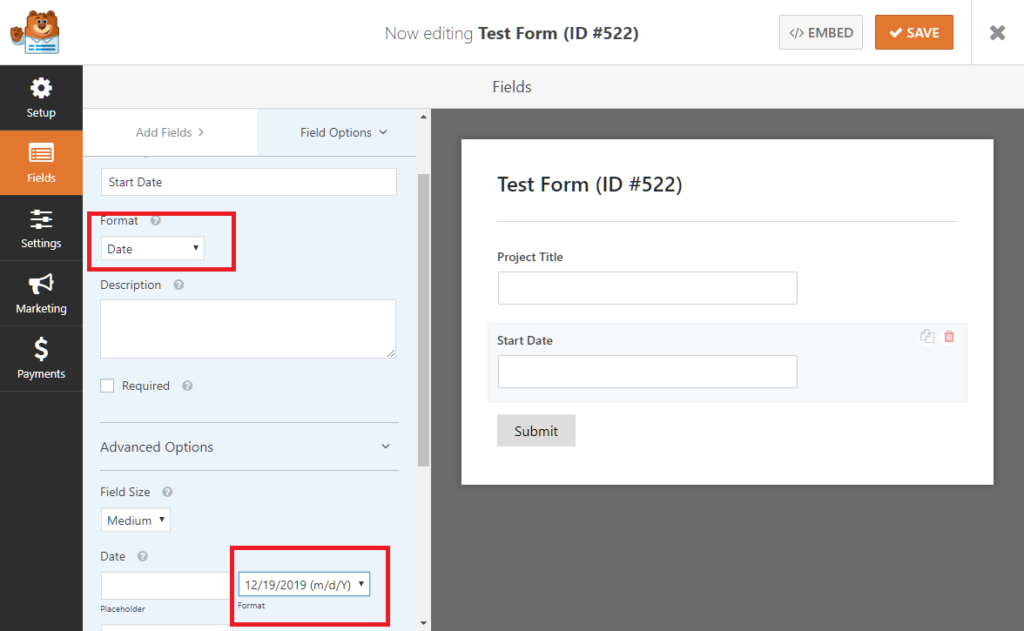 Setting the date format in WPForms for use with UpStream