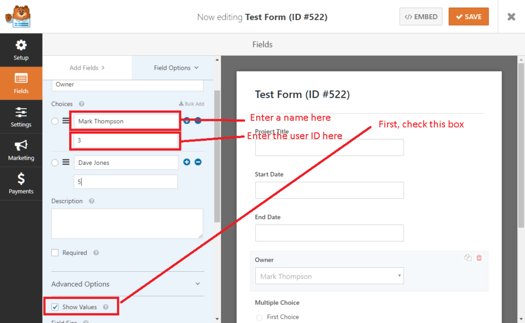 Setting up form fields in WPForms for use with UpStream