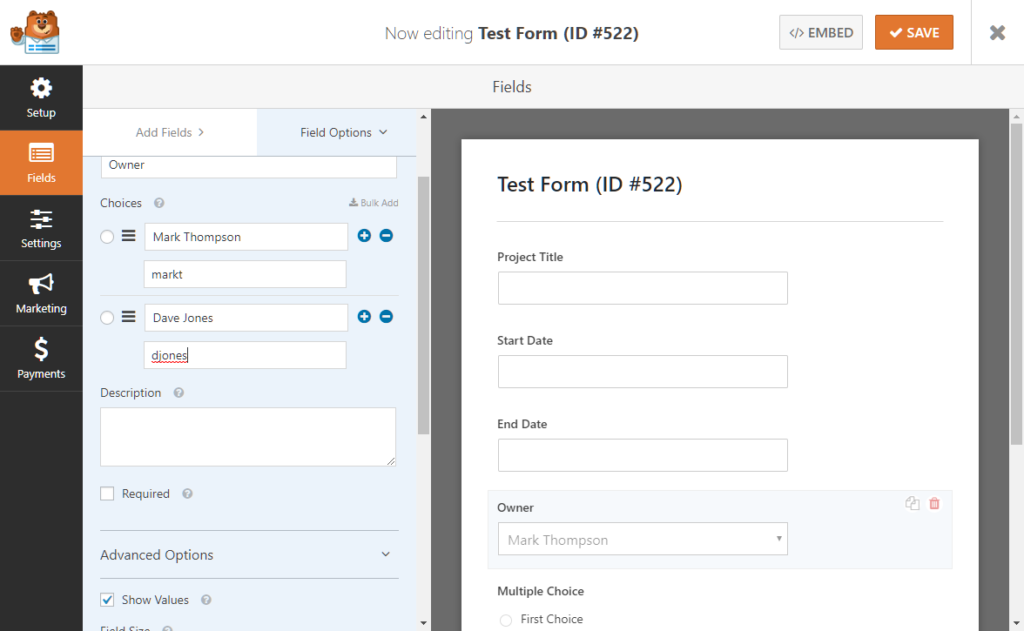Setting up assigned users by username in WPForms