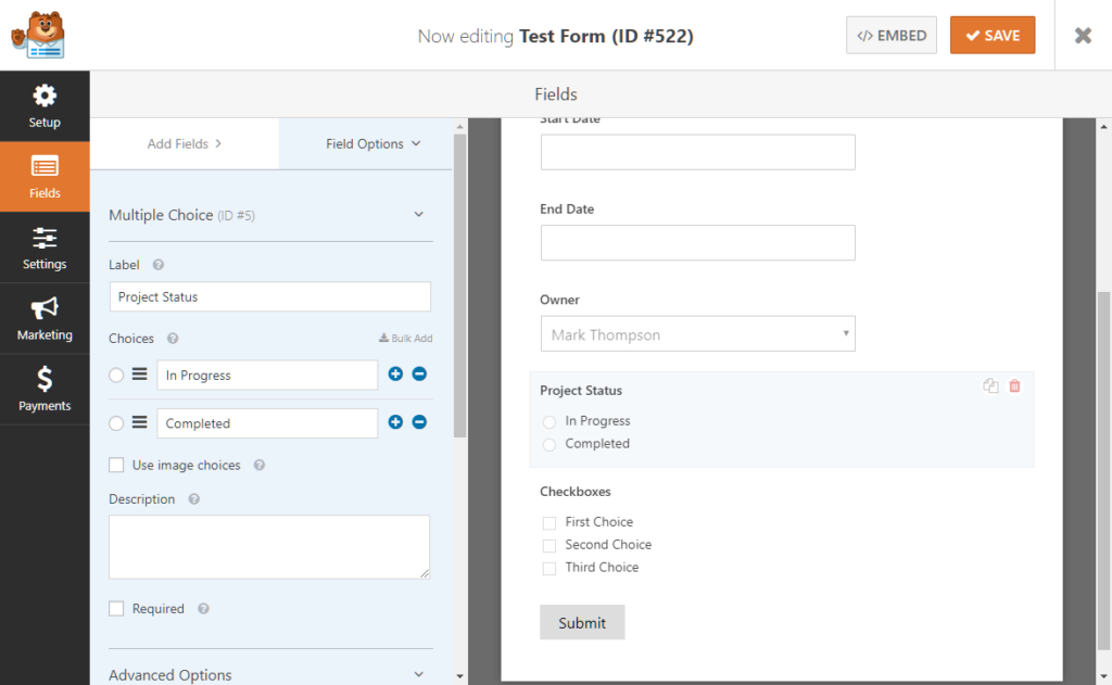 Creating a status field for use with UpStream statuses