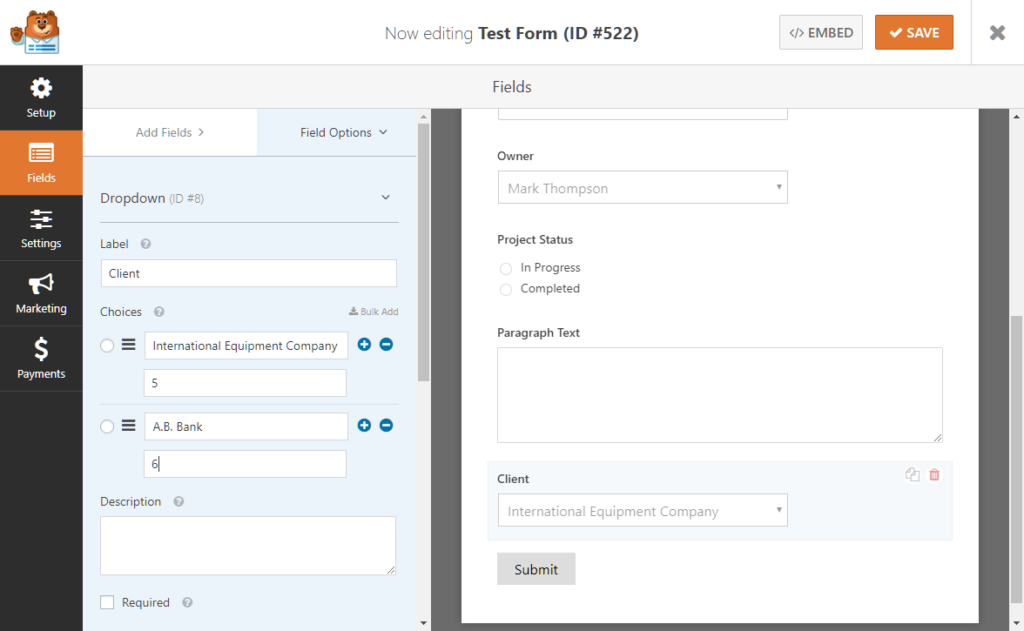 Setting up client ID fields in WPForms