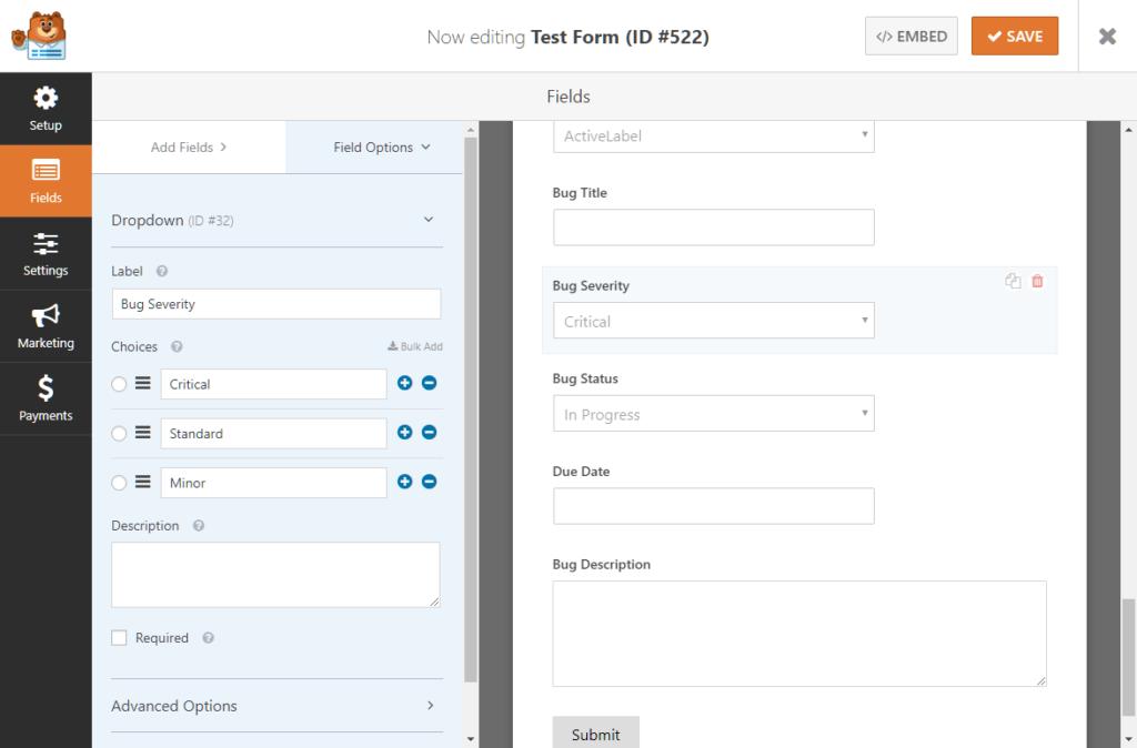 Adding a bug severity field to WPForms