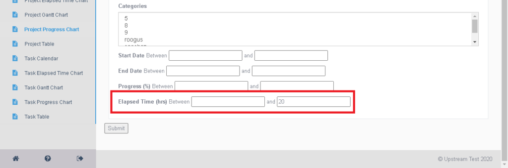 Filtering reports by elapsed time.