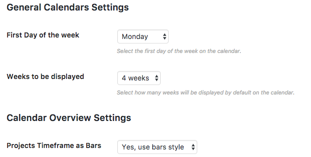 Calendar View Settings screen